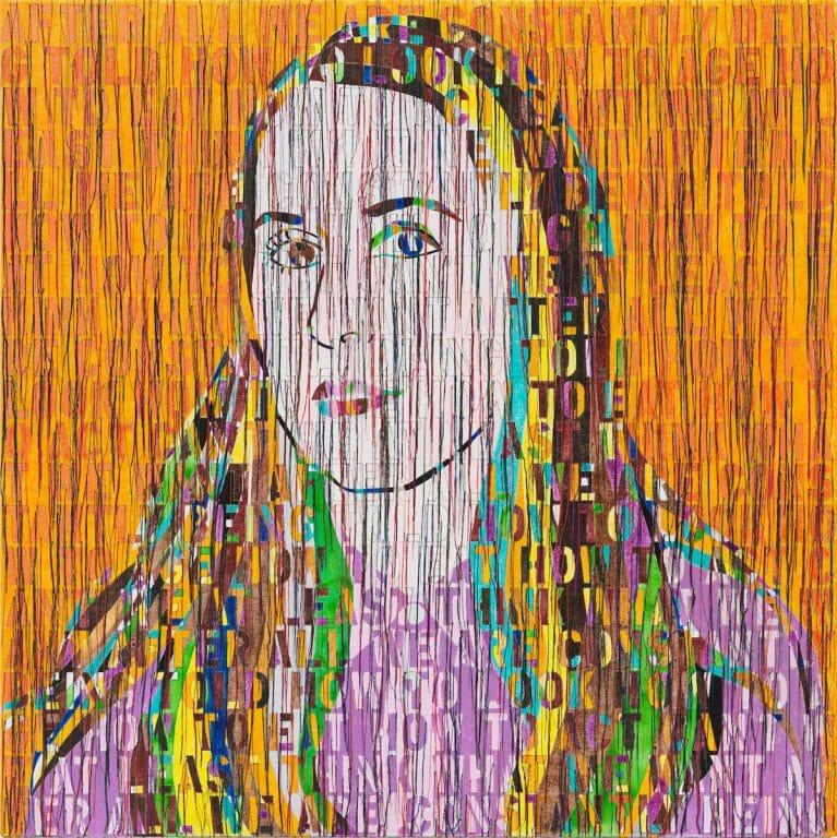 Portrait of Ellen 2020, Acrylic embroidery and gel medium on canvas 114.3X114.3 cm - 45X 45 cm