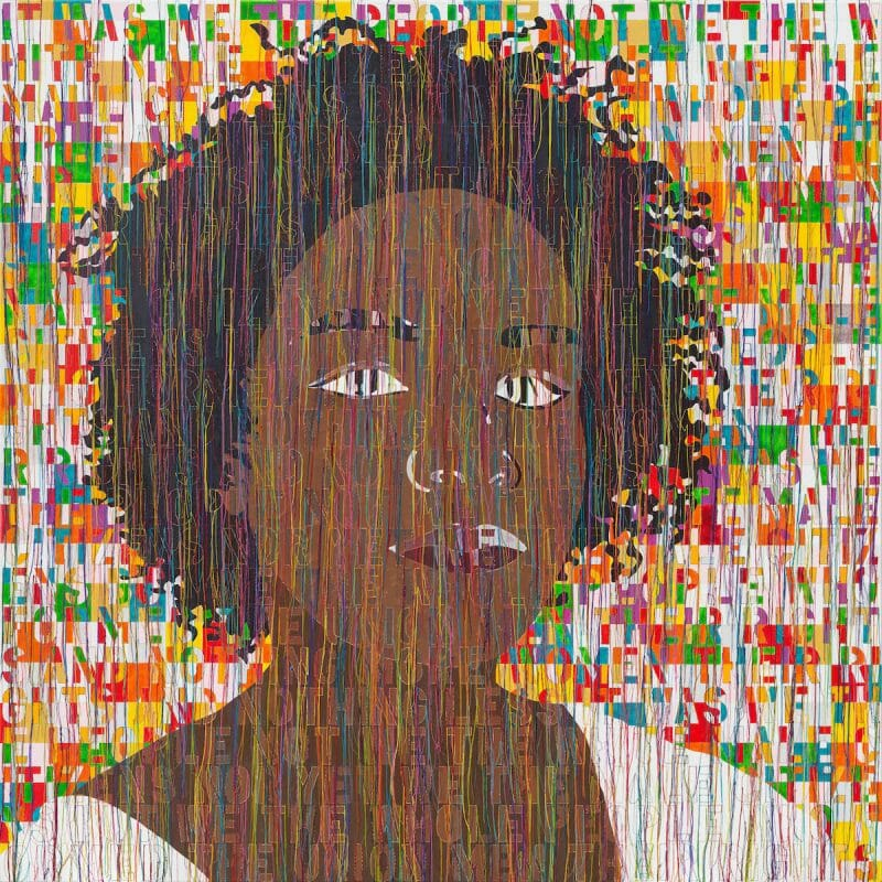 Portrait of Kamilah 2020, Acrylic embroidery and gel medium on canvas 122X122 cm - 48X48 in